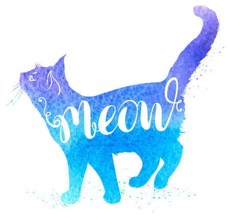 """Con sfondo blu acquerello gatto e la scritta """"Meow"""". disegnata a mano illustrazione vettoriale."""