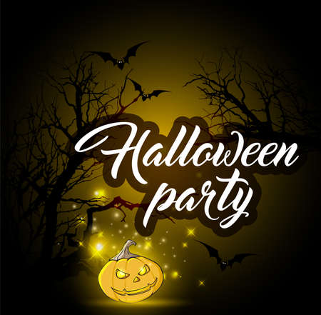 terrible: Halloween background with silhouettes of tree and pumpkin. Design for Halloween party. Illustration