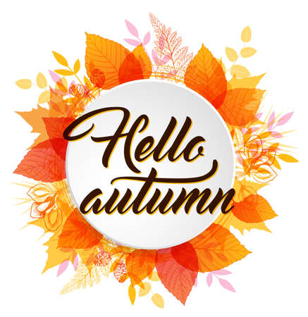 Abstract autumn banner with orange and yellow falling leaves. Hello autumn lettering. Illustration