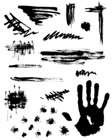 Set of black abstract ink blots for design