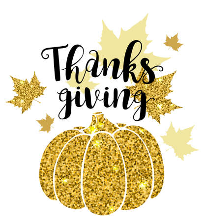luxurious: Luxurious golden glitter card with pumpkin and lettering. Greeting card for Thanksgiving Day. Holiday background.