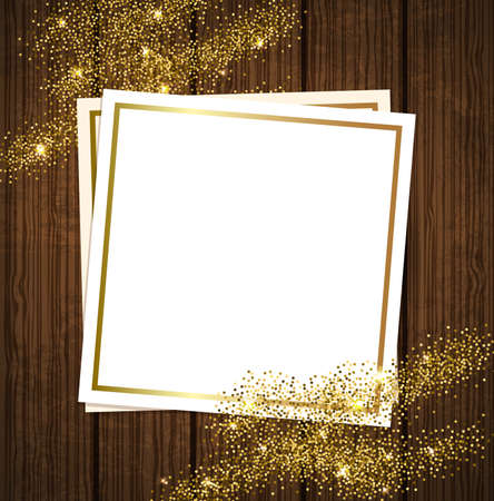 paillette: Vector golden shining background for design. Paper frame on a wooden background.