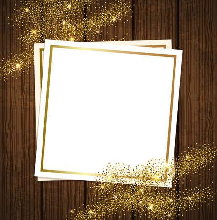 Vector or fond brillant pour la conception. Cadre de papier sur un fond de bois.