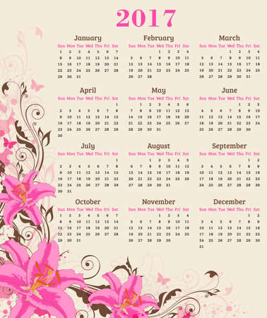 pink lily: Calendar for 2017 year. Abstract floral background with pink lily flowers and leaves.