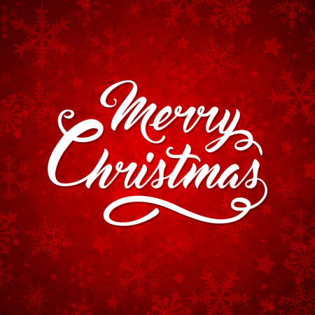 red christmas background: Decorative red Christmas background with greeting inscription. Merry Christmas lettering. Illustration