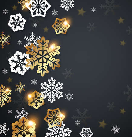 greeting christmas: Black Christmas background with golden and white snowflakes. Design for Christmas card.
