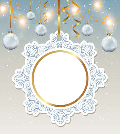 serpentines: Decorative round vector Christmas banner with white decorations.