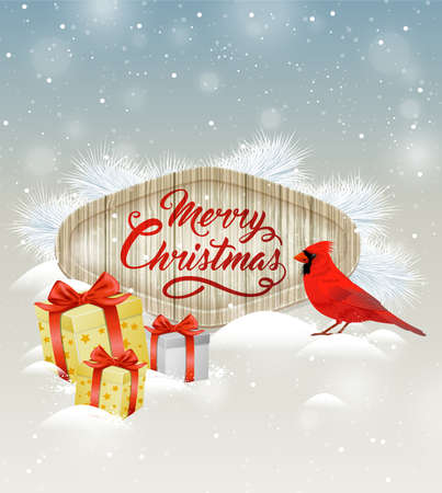 snow cardinal: Christmas vector background with gifts, white fir branch and cardinal bird. Merry Christmas lettering on wooden banner. Design for greeting Christmas card.