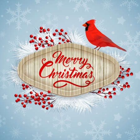 snow cardinal: Christmas vector background with red berries, white fir branch and cardinal bird. Merry Christmas lettering. Design for greeting Christmas card.
