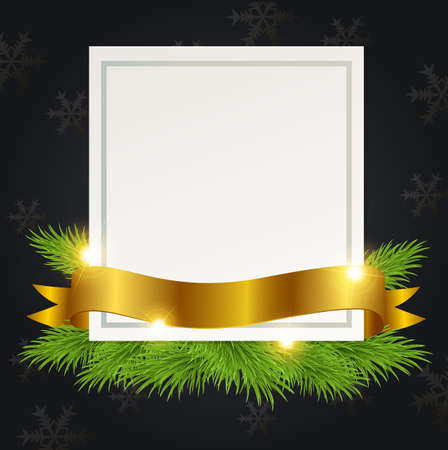 december holidays: Black Christmas background with golden ribbon and white sheet of paper. Design for Christmas card.