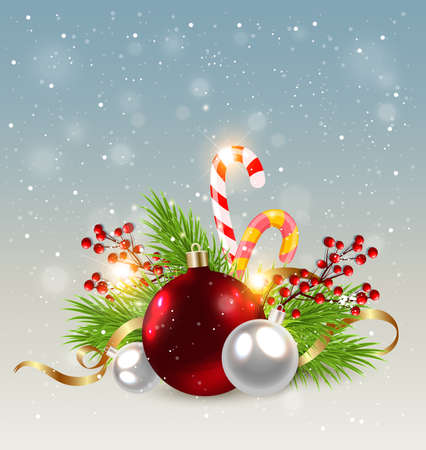 serpentines: Christmas background with red decorations, candy cane and green fir branch. Design for Christmas card.