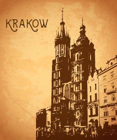Vintage vector card with Krakow Vetores
