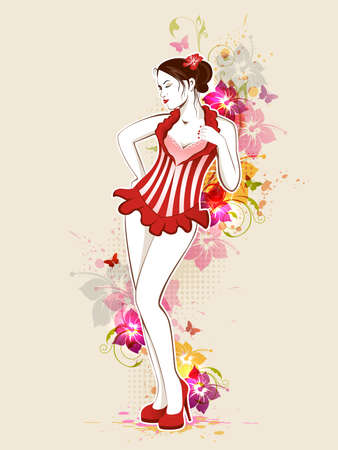 vintage pin up: Beautiful girl in red dress with tropical flowers Illustration