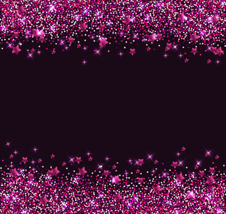 pink skies: Abstract vector glitter background with pink shining stars