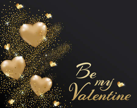 Abstract Valentine golden glitter background with shining hearts. Festive greeting card. Illustration