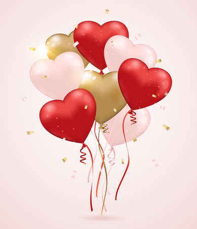 golden heart: Red, pink and golden heart balloons on a pink background. Valentines day greeting card.