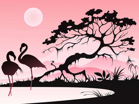 lake sunset: Landscape with two flamingos and tree on a pink background.