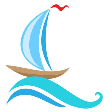 sailing ship: Vector sailing ship and blue wave. Travel concept. Illustration