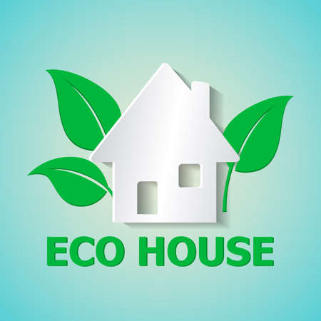 White paper house and leaves on a green background. Ecology concept.