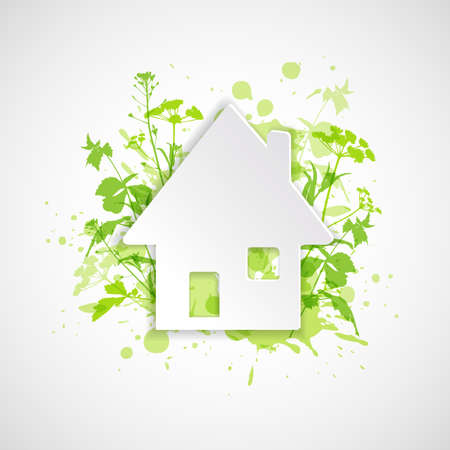 constructions: White paper house and green plants. Ecology building concept. Abstract background. Illustration