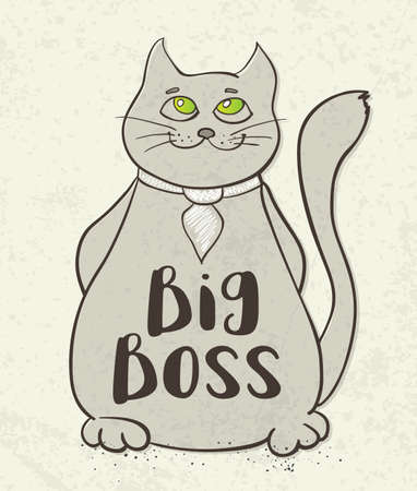 bocetos de personas: Cartoon cat character with Big boss lettering. Hand drawn vector illustration.