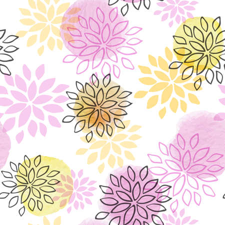 abstract: Abstract floral seamless pattern with watercolor blots and flowers on a white background Illustration