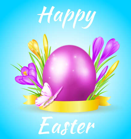 Easter card with violet egg, crocuses and butterfly on a blue background Illustration