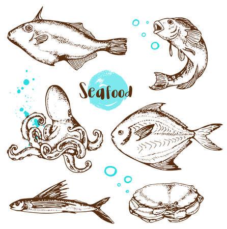 Ensemble de vecteur vintage dessinés à la main poisson, poulpe et crabe sur un fond blanc.