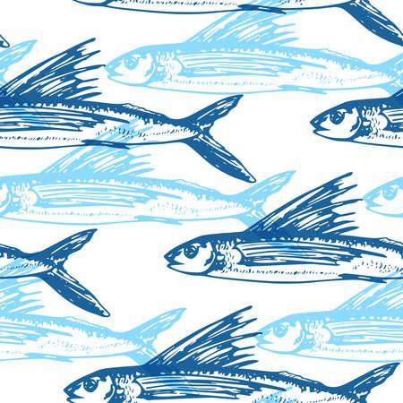 Modèle sans couture de vecteur avec poisson volant bleu sur fond blanc.