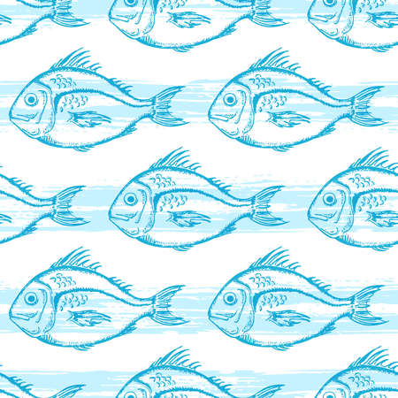 Vector seamless pattern with blue fish on a white background.