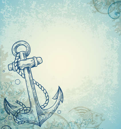 Vintage marine background with anchor and fish. Hand drawn vector illustration. 矢量图像