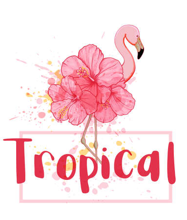 Hand drawn vector pink floral flamingo on a white background. Summer tropical background.
