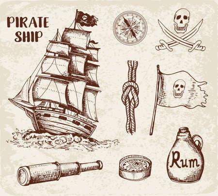 Ensemble d'éléments de conception de pirates dessinés à la main vintage.