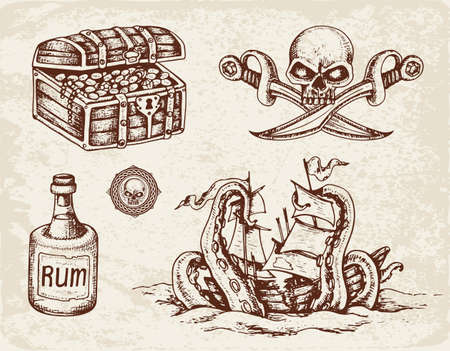 Set of vector hand drawn pirates design elements. Vintage style. Vettoriali