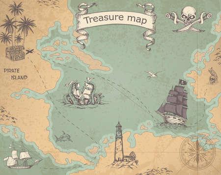 Carte de pirate Vintage vector avec voiliers. Carte au trésor antique avec des navires et une boussole.