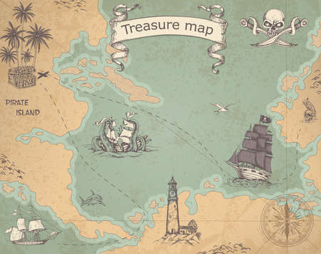 Vintage vector pirate map with sailing vessels. Ancient treasure map with ships and compass.