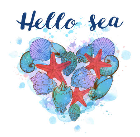 Marine background with heart of sea shells and blue watercolor texture. Hello sea lettering.
