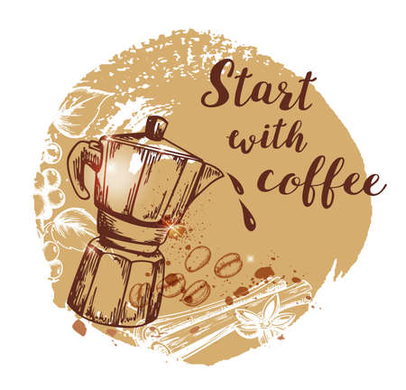 Coffee pot and coffee beans. Hand drawn vector background in vintage style. Lettering Start with coffee