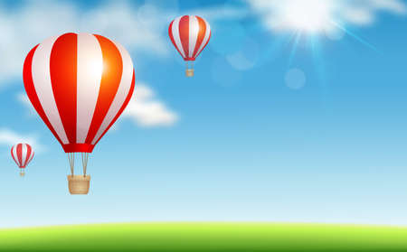 Air balloons flying in the blue sky Illustration