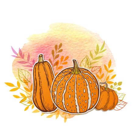 Autumn with orange pumpkins and watercolor texture