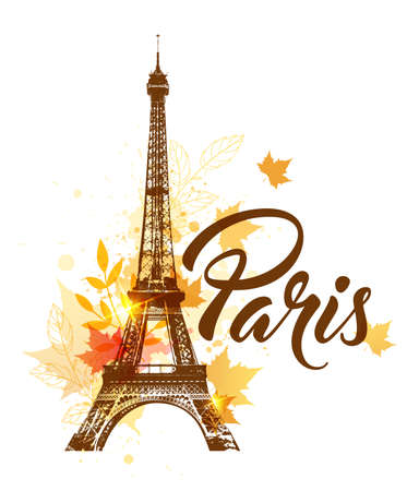 Eiffel tower and autumn maple leaves