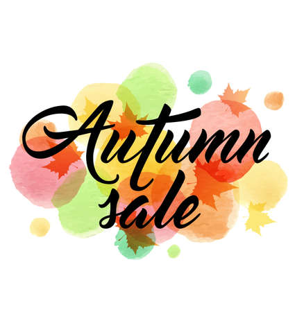 Abstract vector banner for seasonal autumn sale with maple leaves and watercolor blots.