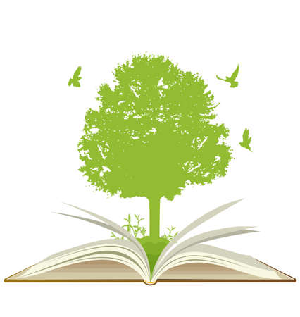 Open book with green tree and birds on a white background. Ecology concept.