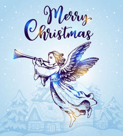 Christmas angel flies over houses and blows into the trumpet. Hand drawn vector greeting card in vintage style. Merry Christmas lettering
