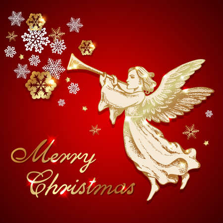 Golden vintage Christmas angel blows into the trumpet on a red background. Vector greeting card. Merry Christmas lettering