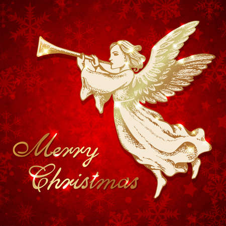 Golden Christmas angel blows into the trumpet. Hand drawn vector greeting card in vintage style. Merry Christmas lettering Vectores