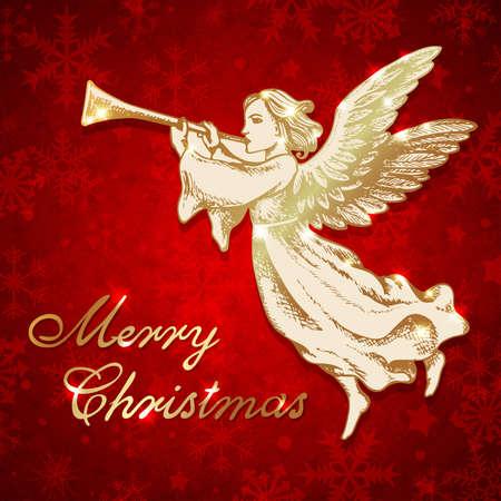 L'angelo di Natale dorato soffia nella tromba. Cartolina d'auguri di vettore disegnato a mano in stile vintage. Scritte di Natale Merry Archivio Fotografico - 91397006