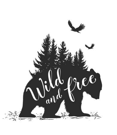Silhouette of a wild bear, fir tree and calligraphy. Wild life in nature. Ilustração