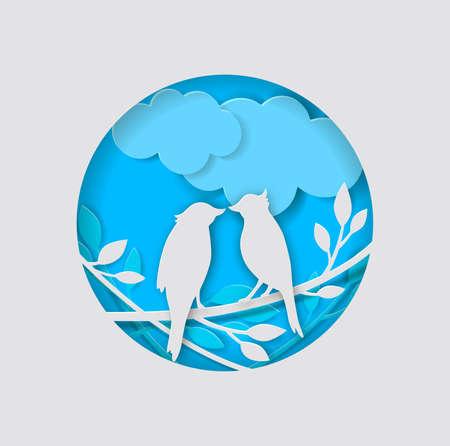 Vector two paper birds, clouds and branch on a blue background. Vektoros illusztráció