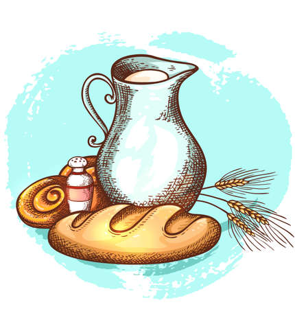 Jug of milk and fresh bread on a blue background. Dairy and bakery products, hand drawn vector illustration. Illustration